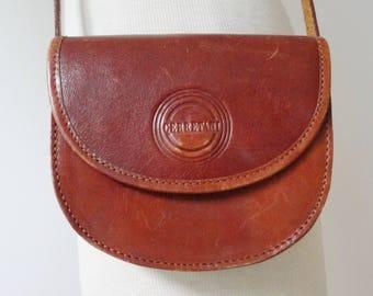 Brown 80s Vintage Leather Bag // Cerretani // Shoulder/Crossbody Bag