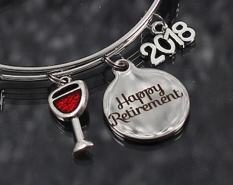 Retirement Gift, charm bracelets for women, retirement jewelry, bracelet with charms, red wine glass, retirement bracelet, personalized gift