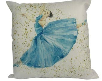 Blue Ballerina Jumping Dance - Pillow Cover
