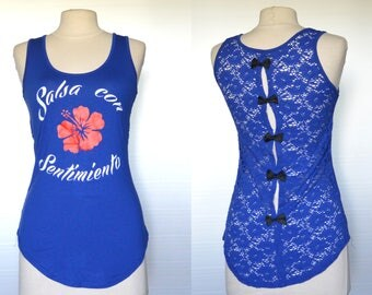 """Blue Salsa top """"Salsa con sentimiento"""" lace back and bows- one size"""