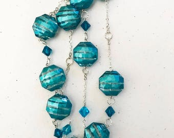 "35"" Swarovski crystal and blue octagon necklace"