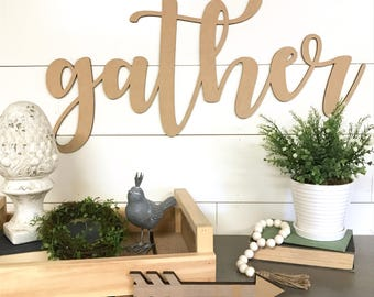 Gather wood word cutout, Wooden letters, Laser Cut Word, Gather together, fall home decor