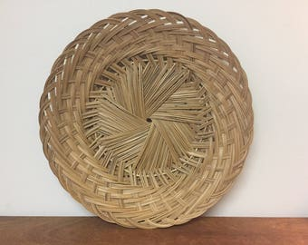 """17"""" Large Round Woven Rattan Basket Tray / Wall Hanging Decor"""