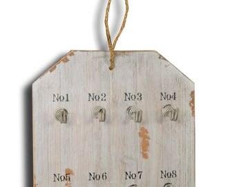 Door keys grey wood plate