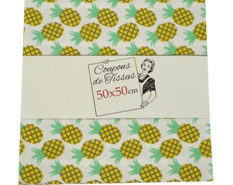 "Cut of fabric 100% cotton ""Pineapple"" 50cm X 50 cm"