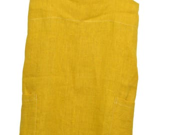 Japanese apron with pockets in 100% washed linen mustard