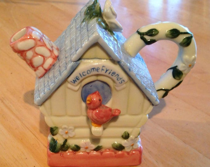Westland Giftware Miniature Cottage Style Birdhouse Teapot with a Flowered Roof and a Red Bird Perched in Front offered by Crafts by the Sea