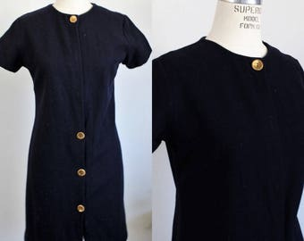 CLEARANCE: Vintage 1960s Wool Dress / Navy Blue 60s Wool Dress  / Mod Style / Minidress Mini Dress