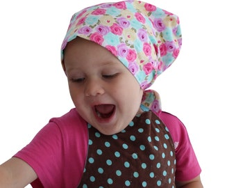 Mia Children's Head Cover, Girl's Cancer Headwear, Chemo Scarf, Alopecia Hat, Head Wrap, Cancer Gift for Hair Loss - Pastel Flowers