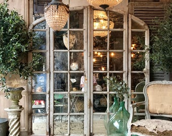 NOW SOLD - Beautiful Vintage French Architectural / Industrial Mirrored Window Frames