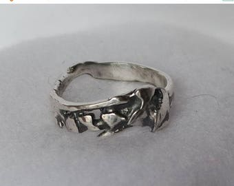 JULY SALE Silver nugget designed band ring with a band shaped for comfort on the hand.  Hand forged and fused for an organic unisex style.