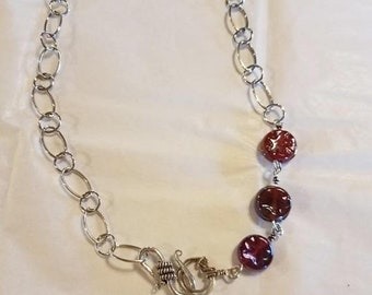 Hand made sterling silver chain necklace with 3 burgundy glass beads blends perfectly with the burgundy wave bracelet.  22 inches long