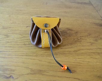 Two-tone Brown and mustard leather purse handmade