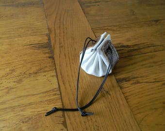 Leather purse two-tone white/Brown handmade