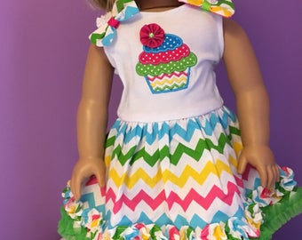 SALE For American Girl doll or 18 in clothes cupcake party dress FREE SHIP