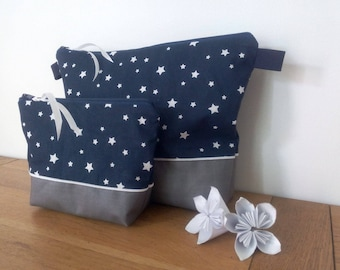Duo toilet bag waterproof Navy Blue Star white with or without handle