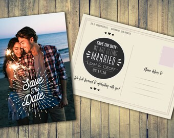 Wedding Engagement Save the Date Photo Post Card Design