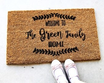 Personalised, Custom made coir Door Mat, welcome, front door, housewarming, birthday gift, name & established date