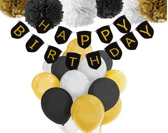 Party Decor Kit, Black, White, Gold, Latex Balloons, Paper Flowers, Happy Birthday Garland, Over the Hill, 40th, 50th, 60th, Party Decor