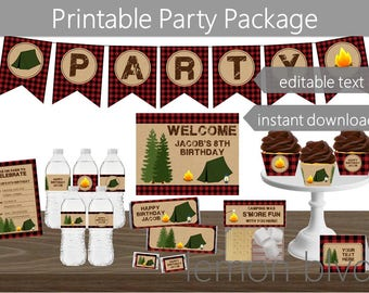 Editable Camping Party Printable Package | Instant Digital Download | Camping Party Pack | Camp Party Decorations | Camping Red Plaid Party