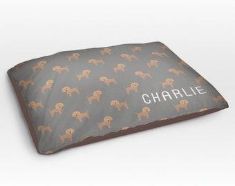 Personalized Goldendoodle Dog Bed, Dog Beds, Large Pet Bed, Cute Labradoodle Dog Duvet, Custom Name Dog Bed Pillow, Dog Gifts for dog