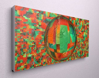 Colorful Wall Art Large Abstract Print Blue Orange Wall Art, Large Modern  Print, Abstract