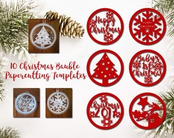 Papercutting Templates - Christmas Baubles Set - 6 Designs + 4 Blanks to add Names - DIY Christmas Decorations - Instant Download PDF JPEG
