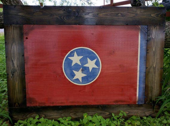 Wooden Rustic-Style Tennessee Flag