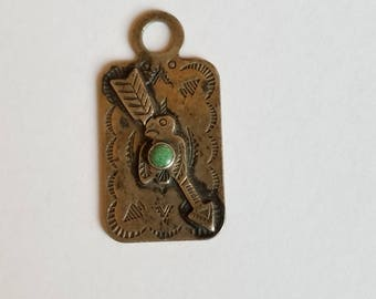 Vintage Sterling Silver with Turquoise Thunderbird Arrow Luggage Tag Fred Harvey Era Fob Charm Pendant