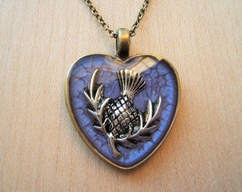 Purple heart thistle pendant. Scottish thistle necklace. Emblem of Scotland. Handmade resin necklace. Valentines gift