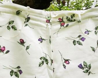 Elegance Paris Women's Cream Three-quarter Pants Print Roses Size 44 / 16