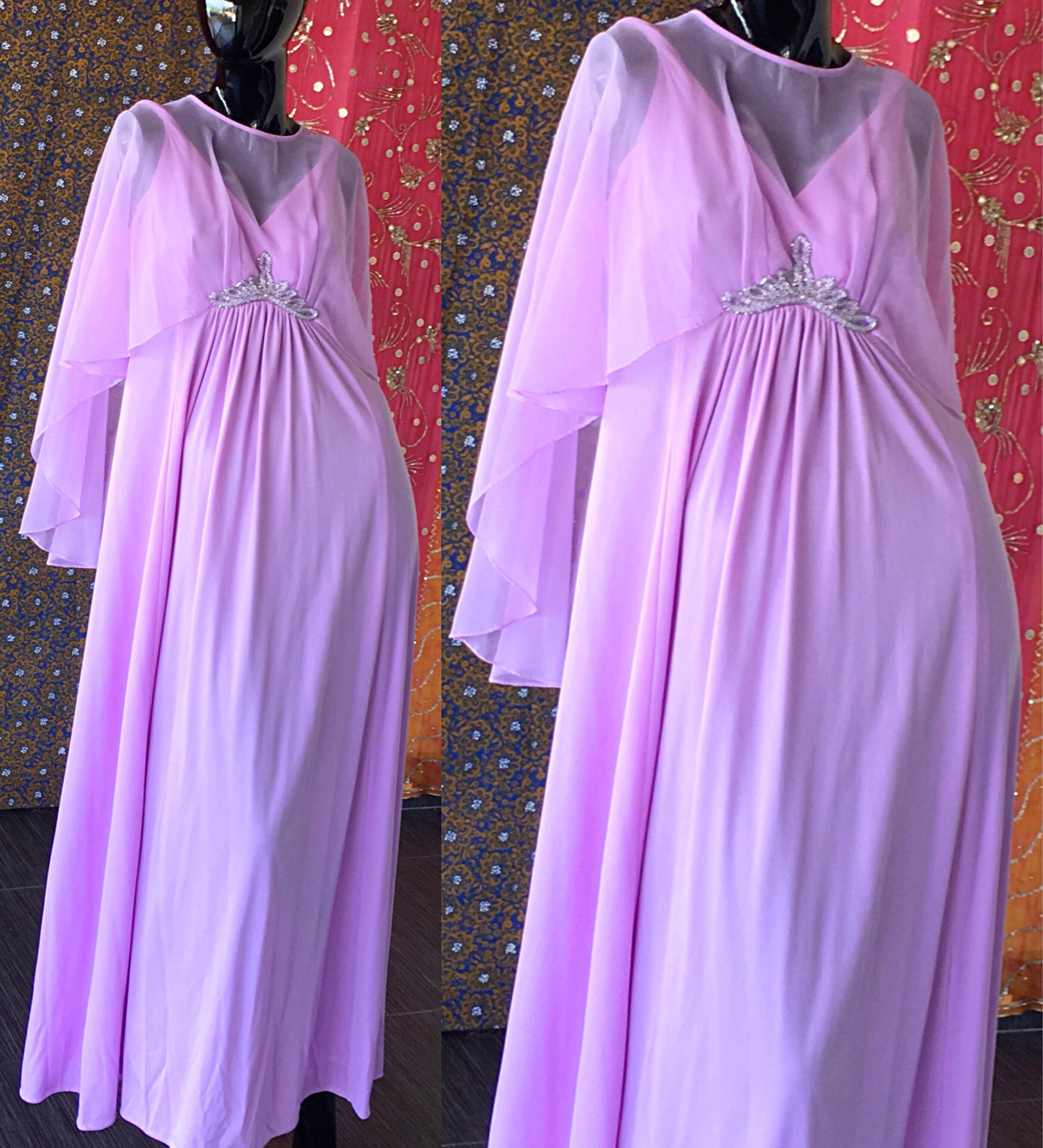 Sequin Disco Dress 70s Grecian Party Floating Dress