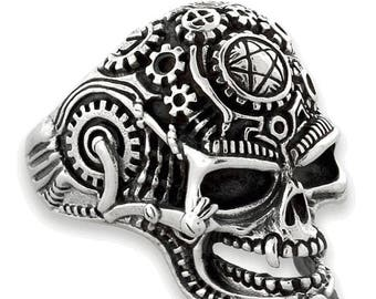 Anniversary SALE Sterling Silver 925 Mechanical Skull Biker Ring Made in USA