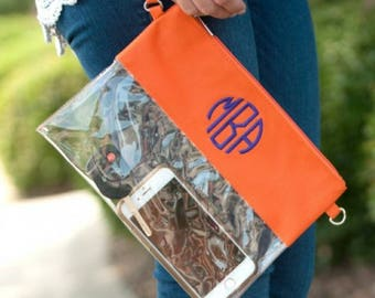 Clear Zip Pouch - Orange Game Day - Monogrammed Clear Purse - Game Day Purse - Gator Fan - University of Florida - UF game day