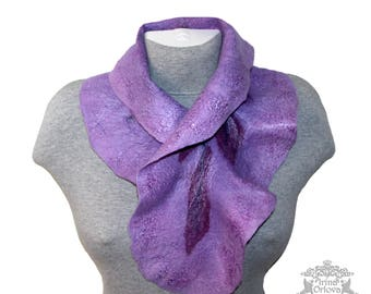 Christmas July Sale felted scarf purple ruffled neck wrap felted Victorian collar Violet merino wool scarf boa woman scarf Mom birthday gift