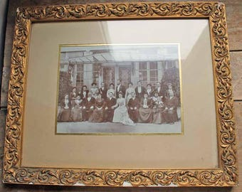 end of 19th century to beginning of 20th century wedding photo in wooden frame/Antique French Wedding Photo Family Portrait manorhouse