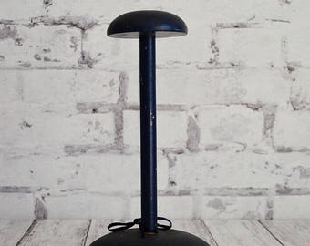 Vintage Wood Millinery Hat Form, Wig Stand, Hat Counter or Shelf Display, 1950's, Navy Blue, General Store Display