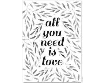 Postcard All you need is love - floral