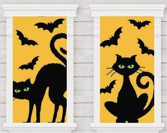 Set Of 2 Black Cats With Bats Window Decorations! Set The Stage For An Awesome Frightful Event!
