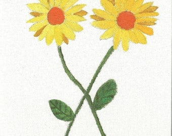 Yellow daisies blank greeting card