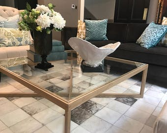 Scandinavian Retro Style Wood and Glass Coffee Table