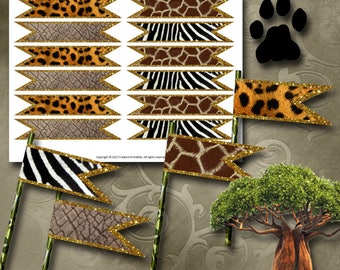 Animal Print Straw Flags Instant Download Printable Straw Flags