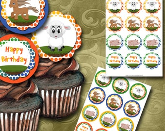 Farm Party Cupcake Toppers - Instant Download - Printable Cupcake Toppers - Childrens Party