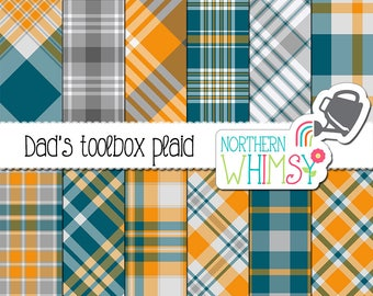 Father's Day Plaid Digital Paper - blue, yellow, and grey tartan scrapbook paper - coordinates with Dad's Toolbox patterns - commercial use