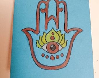 Hamsa notebook, blue