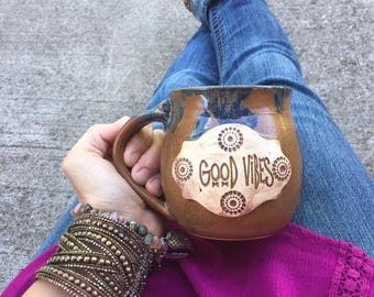 15 Ounce - Good Vibes Mug - Copper Speckle with Blue - Wheel Thrown Pottery
