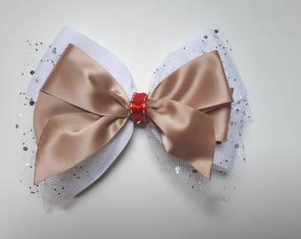 Gold/White Hair Bow with Sparkle Embellishment