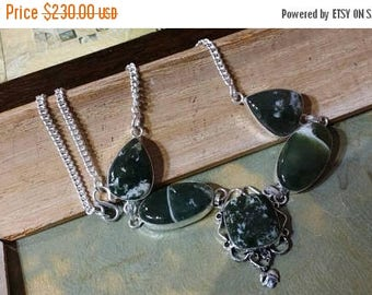 Holiday SALE 85 % OFF Zoisite  Necklace .925 Sterling  Silver Gemstone Ethnic  Tribal