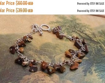"Holiday SALE 85 % OFF Tiger Eye Chips Bracelet Gemstone  8 2/3 "" Inches Copper Clasp SALE"