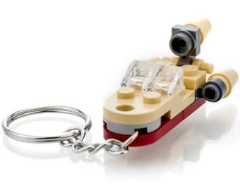 Custom LEGO Star Wars Landspeeder Keychain - Custom Keychain Created with Genuine LEGO Pieces